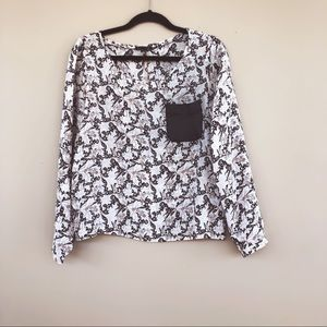 • Club Monaco • Silk Print Leather Pocket Blouse M